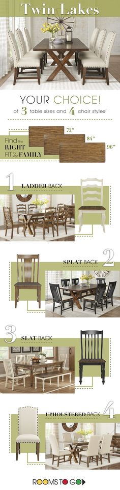 Find the right fit for your family's dining room at Rooms To Go! From varying table sizes, to varying chair styles, every home can feel complete with ease! Turn your house into a home today. Home Room Design, Interior Design Living Room, House Design, Dining Room Furniture, Dining Room Table, Dining Chairs, Palmer House, Home Decor Near Me, Family Dining Rooms