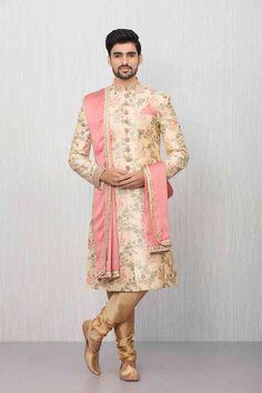 Stylish Sherwani with the Touch of Golden Sequin work - Virat Collection by Manyavar Sherwani For Men Wedding, Wedding Dresses Men Indian, Wedding Outfits For Groom, Groom Wedding Dress, Sherwani Groom, Wedding Suits, Groom Dress, Wedding Poses, Bride Groom