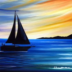 sailing into the sunset pictures sail into the sunset abstract art fi Easy Nature Paintings, Easy Landscape Paintings, Simple Canvas Paintings, Easy Canvas Painting, Acrylic Canvas, Canvas Art, Sunset Paintings, Sunset Art, Canvas Ideas