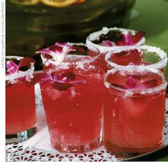 Prickly Pear Margaritas   What You Need   Lime wedge Coarse salt, for rim 2 oz. hibiscus tea 2 oz. white (silver) tequila 1 oz. prickly pear cactus puree 1 oz. fresh squeezed limejuice 3/4 oz. orange-flavored liqueur Orchid, for garnish    How to Make It   Rub rim of a rocks glass with lime. Dip upside down into salt. Set asid ...