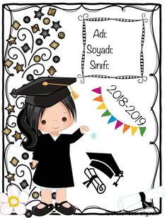 Certificate Design Template, School Frame, Graduation Cards, Childhood Education, First Day Of School, Holidays And Events, Projects To Try, Preschool, Scrapbook