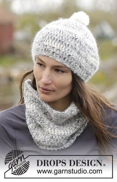 Irish Cloud Set consisting of neck warmer and hat by DROPS Design Free #crochet pattern