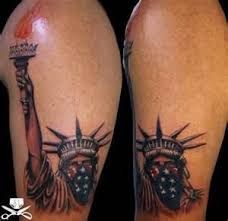 What does statue of liberty tattoo mean? We have statue of liberty tattoo ideas, designs, symbolism and we explain the meaning behind the tattoo. Love Tattoos, Body Art Tattoos, Tattoos For Guys, Tatoos, Fear Tattoo, Nyc Tattoo, Statue Of Liberty Tattoo, Patriotic Tattoos, Sailor Jerry Tattoos