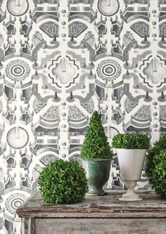 This stately Topiary Wallpaper by Cole and Son forms part of the new Botanical Botanica Collection and features the intricate geometric designs of majestic formal gardens. This stunning wallpaper will look great in a dramatic dining room, in a grand hallw Wallpaper Ceiling, Bold Wallpaper, Trendy Wallpaper, Print Wallpaper, Original Wallpaper, Botanical Wallpaper, Bedroom Wallpaper, Green Dining Room, Feature Wall Bedroom