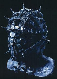 H.R.Giger Watchguardian, head V,   1993, cast aluminium,   polyester and metal,   50*50*50 cm