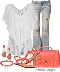 """Coral for spring"" by amabiledesigns on Polyvore"