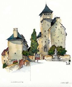 Curemonte, France by wanstrow Sketch Painting, Watercolor Sketch, Drawing Sketches, Watercolor Paintings, Art Drawings, Watercolors, Watercolor Architecture, Illustration Art, Illustrations