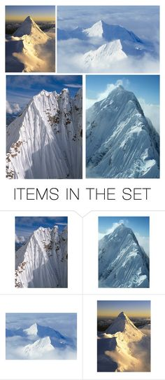 """""""Following the Snow Clad Peaks of the Alaska Range Finally Brought Them to Denali…at 20, 310', it is the Tallest Peak in North America & the Third Tallest in the World, After Mount Everest in Nepal & Aconcagua in Argentina"""" by maggie-johnston ❤ liked on Polyvore featuring art"""