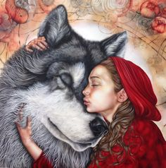 Wolf and Red Riding hood (original) - Kerry Darlington