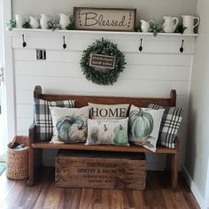 Amazing front entry bench from an old church pew. Amazing front entry bench from an old church pew. Amazing front entry bench from an old Home Living Room, Living Room Decor, Entry Bench, Entryway With Bench, Foyer Decorating, Decorating Ideas, Entryway Decor, Entryway Ideas, Home Projects