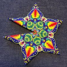 Magical Flower Peyote Star Beading Pattern - Beaded Star Patterns - DIY Christmas Ornament Bead Pattern - Colorful Bead Weaving Patterns Beading Patterns inspired by art and ethnic от TheTalesOfBeads Bead Crochet Patterns, Bead Embroidery Patterns, Beading Patterns Free, Peyote Patterns, Star Patterns, Beaded Embroidery, Weaving Patterns, Mosaic Patterns, Knitting Patterns Free