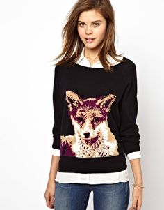 Image 1 - French Connection - Pull en maille motif renard