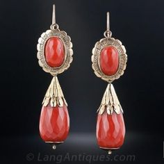 Antique Sicilian Coral and Gold Drop Earrings