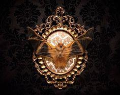 Victorian Taxidermy Bat Frame Gothic Home Decor  Halloween Decoration