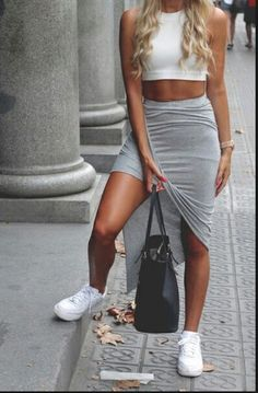 skirt white white air force ones nike shoes white shoes grey skirt long skirt style crop tops white crop tops cool outfit t-shirt shirt bag gold watch gold watch nike air force 1
