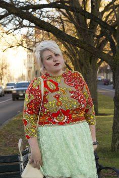 Love the sweater + skirt combo!