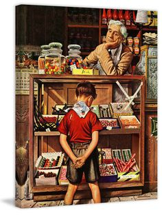 The late Norman Rockwell. Norman Rockwell painting Norman Rockwell - I love his artwork! Penny candy - that's what it was like. A time consuming decision with your nickel in hand. Peintures Norman Rockwell, Norman Rockwell Art, Norman Rockwell Paintings, Photo Vintage, Vintage Art, Antique Art, Art And Illustration, Painting Prints, Canvas Prints