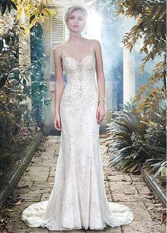 Glamorous Tulle Spaghetti Straps Neckline Sheath Wedding Dress