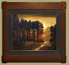 Light between The Trees by Jan Schmuckal, Oil, 16 x 20 Craftsman Style Decor, Artist And Craftsman, River Painting, Selling Paintings, Witch Art, Arts And Crafts Movement, Arts And Crafts Projects, Landscape Paintings, Landscapes