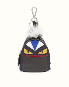 Fendi bag bugs backpack in black nylon with inlay