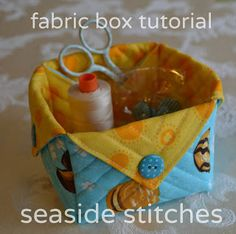 """Seaside Stitches: Fabric Box Tutorial: 2 squares Fabric 8"""" & 12"""" ( Sample 10""""), Same size batting, 4 Coordinating buttons (optional), walking foot."""