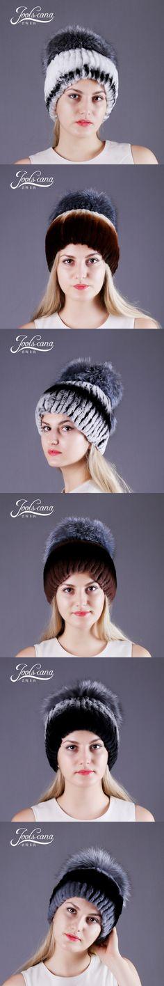 JOOLSCANA hats for women genuine rabbit fur hat with fox fur pompom cap women winter beanie warm caps with lining russia new