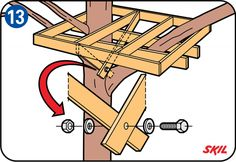 How to build a treehouse - Supporting beams under the platform