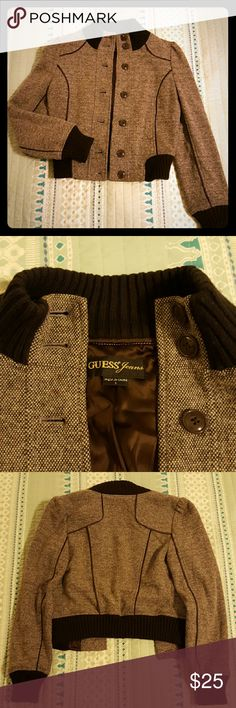 Wool Guess jacket *Beige and brown wool Guess brand jacket *Button front  *Dark brown material is very soft and stretchy *Lining throughout the inside *Sits at the hip *Great condition; no rips or stains Guess Jackets & Coats