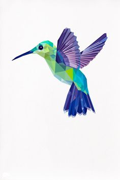 Hummingbird Geometric illustration Bird print by TinyKiwiCreations