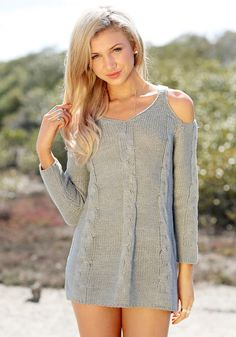 Shoulder Cut Out Sweater - Grey- Gorgeous Knitted Sweater