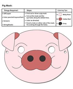 Masks Crafts for Kids Clown Crafts, Pig Crafts, Puppet Crafts, Preschool Crafts, Crafts For Kids, National Pig Day, Printable Animal Masks, Pig Mask, Pig Costumes