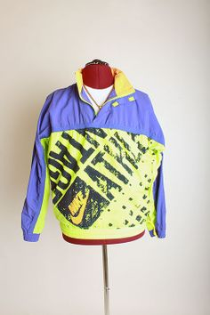 Retro Vintage Nike Half-Zip Pullover Windbreaker-NEON Size S $65