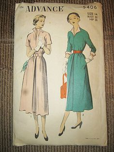 Advance Dress Pattern From The Forties Or Fifties, Size 14, Pattern #5406,Long Or Short Sleeve, Shirtdress Style, Vintage Pattern by Junkblossoms on Etsy