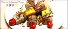 Espetos de Carne com Manga - Clique na imagem para ver a receita