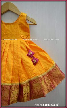 Pavada designs by Angalakruthi boutique Bangalore Kids Party Wear Dresses, Kids Dress Wear, Kids Gown, Little Girl Dresses, Girls Dresses, Kids Wear, Girls Frock Design, Baby Dress Design, Baby Frocks Designs