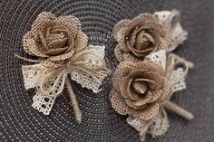 Rustic Burlap Rose Boutonnieres, Burlap Lace Groom and Groomsmen Buttonholes, Rustic Wedding, Lapel Pins