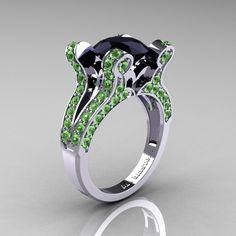 green gorgeous wedding rings