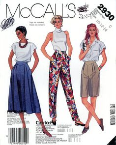 Vintage Sewing Pattern - 1987 Misses Skirt, Pants, and Shorts, McCall's 2930 Sizes 10, 12, 14