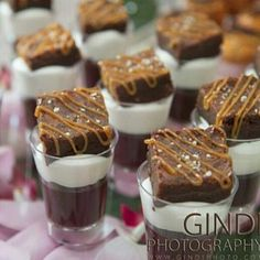 Passover Chocolate Pudding, Cream and Caramel Drizzled Brownie Shots | Kosher Recipes and Jewish Table Settings
