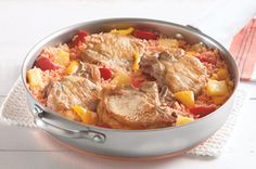 A one-pan pork recipe. Less cleanup! Replacements:  One 20oz. can instead of 2 8oz cans pineapple  White cooking wine and apple vinegar replaced the Catalina dressing  No lid, so I just added extra chicken broth as it went away