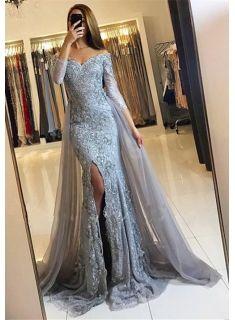 Sweetheart Lace-Appliques Front-Split Newest Long-Sleeve Mermaid Prom Dress SP0345