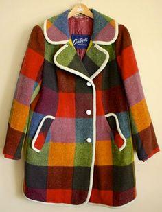 Midcenturymodernfreak: Plaid Mod Style Wool Coat Coatique Of Austria - Via Fashion Kids, Mod Fashion, Fashion Week, Vintage Fashion, Sporty Fashion, Plaid Fashion, Fashion Hacks, Fashion Models, Fashion Shoes