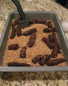"Treats: Kitty Litter (Cake & brownies): Bake vanilla cake, let cool, crumble up & place in NEW kitty litter box. Bake brownies, let cool, shape into poo & place on top of ""kitty litter""."