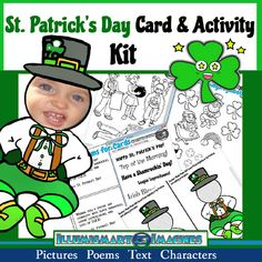 Celebrate St. Patrick's Day with cards, pictures to decorate bags, and a variety of visuals! Enjoy card-making poems,coloring pages, pictures, text, and photo face leprechaun! Includes original poems perfect for holiday activities!