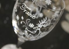 Reindeer Wine Glass, Snow, Snowflakes, Winter, Christmas, Holidays, Frost, Personalized by Flutterby Glass #CraftedwithPassion #flutterbyglass http://www.flutterbyglass.com