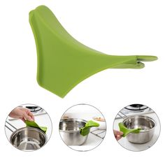 New Silicone Liquid Funnel Pots and Pans Round Rim Deflector Anti-spill Drain Spout Slip On Mess Kitchen Utensils Cooking Tool