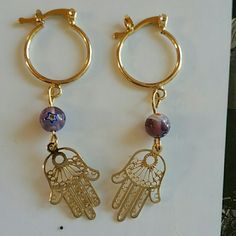 18k gold plated Hamsa, Fatima hand hoops About 2.5 inches long,  18k gold plated, absolutely adorable Jewelry Earrings