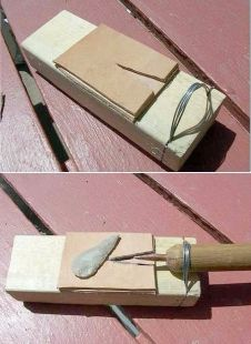 Knapping Jig - Homemade knapping jig constructed from surplus 2x4, cardboard, and wire.