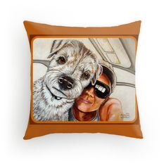 Bennie and Lang's In The Car Selfie Just Posted! Another addition to my growing Custom Designed Pillow Collection! This one is for Bennie and Lang!