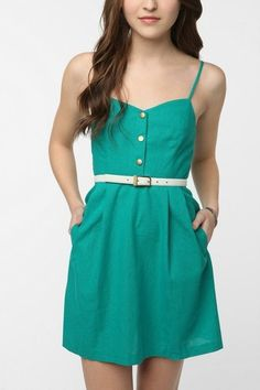 blue green chic spaghetti dress